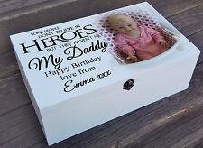 White personalised wooden box, keepsake memory box Daddy birthday christmas gift