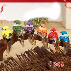 6Pcs Mini Fake Birds Artificial Feather Foam Bird Home Xmas Tree Ornament Decor