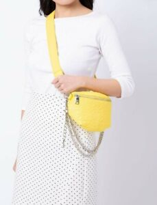 NEW STEVE MADDEN  Brandie Leather Belt Bag Yellow W/CHAIN FANNY PACK NWT