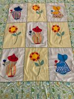 """VTG~40's~50's~Child's Baby Crib Quilt~Hand Made~Applique~Embroidered~35""""x48""""~EVC"""
