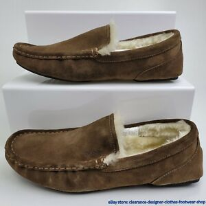 Hugo Boss Relax Mocc SDF Slippers Mens Moccasin Brown Fur Suede Shoes RRP £89