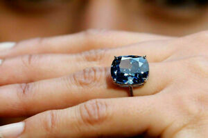 3Ct Cushion Cut Blue Tanzanite Solitaire Engagement Ring 14K White Gold Finish