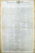 <1810 newspaper President JAMES MADISON SIGNS Military Budget before WAR OF 1812