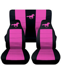 2005-2007 Ford Mustang Convertible Front Rear Black Hot Pink Horse Seat Covers