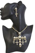 Women Gold Metal Chains Fashion Jewelry Necklace Cross Pendant Skulls Bling Set