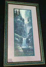 Home Interiors Waterfall Cottage Nature Picture Framed Matted Prints Set Of 2