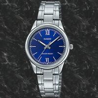 Casio LTP-V005D-2B2 Women's Blue Analog Watch Steel Band New