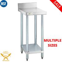 Stainless Steel Equipment Filler Table with Backsplash Undershelf MULTIPLE SIZES