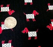 Vintage novelty red dogs on black cotton mid century sewing craft fabric!