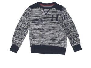 Tommy Hilfiger Boys Blue Letterman Sweater Size 5 Long Sleeve