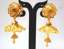 Wedding Ideal Earrings 5 cm Set . 22K Gold Plated Indian Umbrella Shape Jhumka