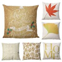 Leaves Letter Print Home Decor Linen Pillow Case Sofa Waist Throw Cushion Cover