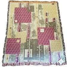"New! Simply Home Bamboo Purple & Green Modern Tapestry Throw Blanket | 56"" x 60"""