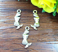 10pcs Mermaid Tibetan Silver Bead charms Pendants DIY jewelry 20x0.8mm