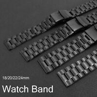 18/20/22/24mm Stainless Steel Double Lock Flip Bracelet Watch Band Link Black