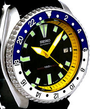 Vintage mens watch SEIKO 7002 diver mod *SILVER-BLUE bezel & YELLOW Chapter Ring