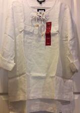 NEW Women's White Woven Top XL/1X Shirt Tunic Career $89 Linen Roll Up Sleeve