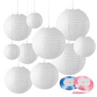 12 PCs Mixed New Round Paper Lanterns Lamp Shade Wedding Decor (White Shade)