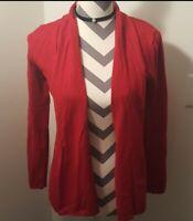 Women's Zara knit red long sleeve Open Front cardigan sweater SIZE L