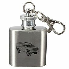 Laser Engraved 1oz Stainless Steel Hip Flask Key Ring With Land Rover Design
