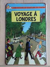 """Plaque Métal 20x30 cm TINTIN """" Voyage à Londres"""""""