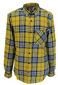 Lambretta Retro Button Down Mustard Check Long Sleeved Shirt