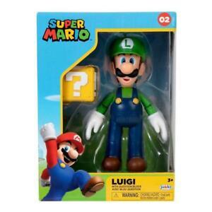 "Luigi w/ Question Block 4"" Action Figure Super Mario Bros Jakks Pacific Nintendo"