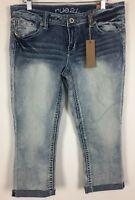 Rue 21 Cropped Jeans Size 9/10 Juniors Flap Pockets Capri Sequin Denim NWT