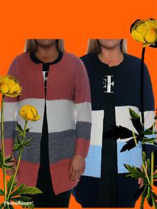 Womens Long Sleeve Boyfriend Stripe Cardigan Ladies Casual Tops Open Winter Plus