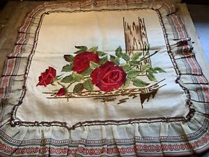 """Antique Vintage Arts & Crafts Pillow Sham with Embroidered Red Roses 25"""" x 26"""""""