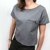 Banana Republic Gray Zip Pocket Boxy Cropped Short Sleeve Top Women's Size XS