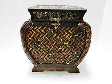 Oriental Style Wood Sewing Basket Storage Box - Faux Wicker Look - 13 in Tall