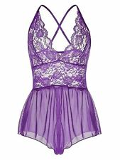 Sexy Lingerie See-through Lace Teddy Open Crotch Babydoll Nightwear Purple L