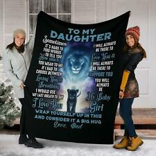 Personalized To My Daughter Dad Lion Gifts For Daughter Plush Fleece Blanket