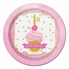 18cm Pink and Gold Girls 1st Birthday Party Plates Pack of 8