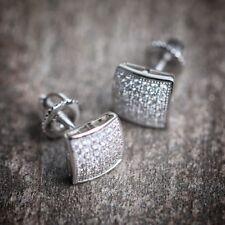 Mens & Ladies 18K W Gold Simulated Lab Diamond KITE Screw Back Stud Earrings 8mm