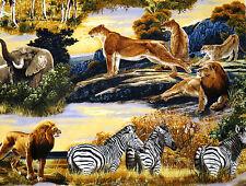 AFRICAN ANIMALS  BRINGING NATURE HOME 100% COTTON FABRIC ROBERT KAUFMAN YARDAGE
