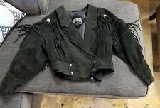 Outerbound by HMS Suede Black Leather Jacket with Fringe Bolero Ladies Size M