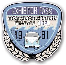 Retro Effetto Invecchiato Custom CAR SHOW ESPOSITORE PASS 1961 VINTAGE vinyl sticker decal