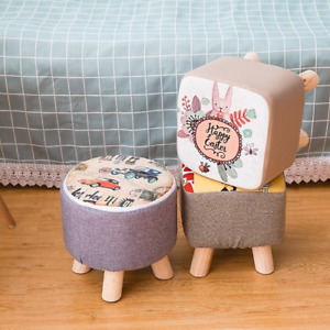 Fabric Sofa Stoolchildren's Small Round Stool Home Creative Bench Gift Solidwood
