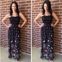 NWT Angie Smocked Floral Print Black Summer Sun Maxi Boho beach Dress S/M/L
