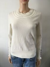 Burberry Womens Cable Knit Cashmere Light Sweater Cream Sz S
