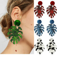 Fashion Geometric Boho Acrylic Resin Banana Leaf Earrings Hook Stud Dangle Women