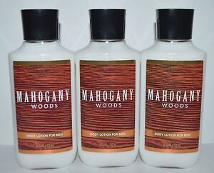LOT OF 3 BATH & BODY WORKS MAHOGANY WOODS FOR MEN LOTION HAND CREAM LARGE 8OZ