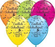 5 Riesenballons Luftballons Endlich Schulkind, bunt sortiert, Qualatex, ca.40 cm