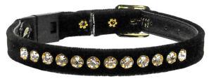CAT Safety Collars Genuine Crystal Jewels Super Cute Kitty Black Velvet & Bling!