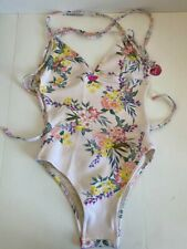 Monsoon Beach Accessorize womens beige floral print swimming costume UK 6 RRP£35