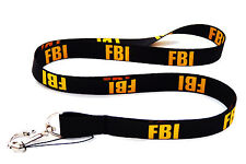 FBI LANYARD NECK STRAP + MOBILE ID KEYS IPOD MP3 HOLDER FREE UK DELIVERY