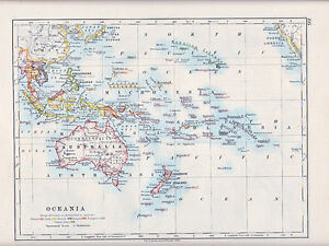 1912 MAP ~ OCEANIA ~ AUSTRALIA MICRONESIA ~ SHOWING FOREIGN POSESSIONS