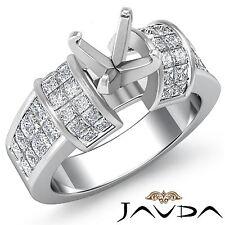 Diamond Wedding Invisible Set Ring Platinum 950 Multi Shape Semi Mount 1.96Ct
